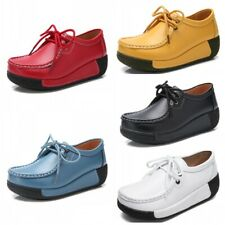 Fashion Womens Faux Leather Platform Lace Up Round Toe Shoes Shake Creepers 41 L
