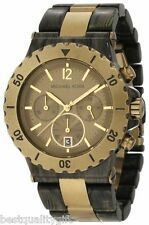 NEW MICHAEL KORS BRASS,GOLD BRONZE, BROWN ACRYLIC CHRONOGRAPH DYLAN WATCH MK5597