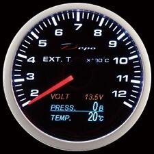 Manometro ETG Temperatura Gas Scarico DEPO 4:1 Volt Press e Temp Olio Fondo NERO