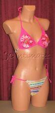 *Sexy 2 pc Anisea String Bikini Swimsuit-Hot Pink Floral Stripe Print(L)