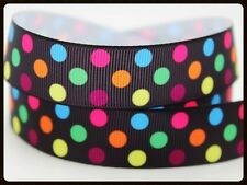 "Polka Dots RIBBON. 7/8"" Grosgrain. BLACK. Scrapbooking/Bows. Rainbow,LARGE SPOTS"