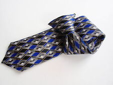 "Boys Mark Jason Polyester Clip on Necktie Tie Blue Black Gray Geometric 13"""