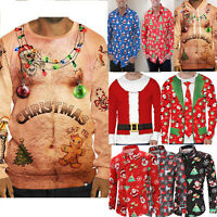 Fashion Mens Santa Claus Print Sweater Long Sleeve Casual Christmas Top T-Shirt