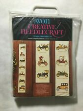 "Avon Creative Needlecraft ""Vintage Cars Wall hanging"" Crewel Embroidery 40"" x 6"""