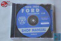 1952-54 Ford Passenger Car Shop Repair Manual CD Rom Disc PDF New