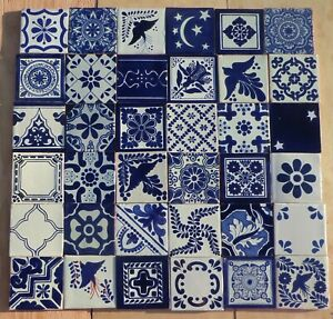 """20~Talavera Mexican pottery 4"""" Tile assorted geometric patterns blue white"""