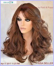 Lace Front Heat Friendly Wig Long Loose Curls Skin Top Clr P4.27.30 USA Seller