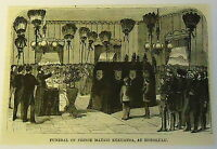 small 1883 magazine engraving ~ FUNERAL OF PRINCE MATAIO KEKUANOA Honolulu, HI