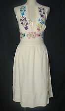 New One Size Mexican Spring Summer Fiesta Floral Embroidered Beige  Halter Dress