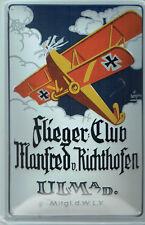 """"""" Pilot Club Manfred Von Richthofen """" - Tin Sign 20 x 30 cm New (NB41)"""