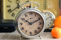 Vintage Junghans Alarm Clock Working Large Mechanical German Metal Wind Up Clock
