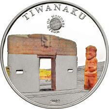 2015 Palau Large Proof Silver color $5 World Wonders-Tiwanaku