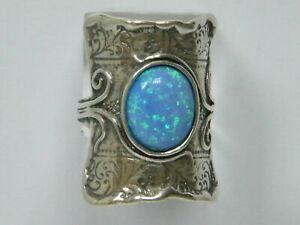 New SHABLOOL Ring Blue Opal Jewelry 925 Sterling Silver Women Lady