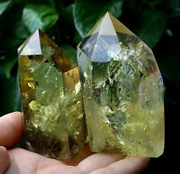 425g 2pcs AA+New Find Transparent Yellow Quartz POINT Crystal Specimen