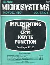 Microsystems CP/M and S-100 Users Journal Magazine Vol 1 No 6 November Dec 1980