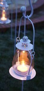 White Glass and Steel Hanging Garden Lantern Or Tea Light Holder