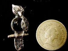 Pendientes de plata esterlina Negro Onyx Marcasita Sabio Búho viejo Pájaro Broche Pin Estilo Vintage