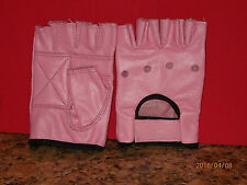 PINK LEATHER FINGERLESS GLOVES - SIZE EXTRA SMALL - NEW