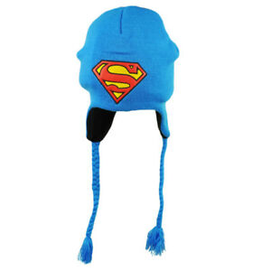 DC Comics Superman Peruvian Tassel Blue Leather Logo Knit Beanie Super Hero Hat