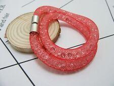 12X Stylish Red Rhineston Wrap Mesh Magnetic Clasp Bracelet Bangle