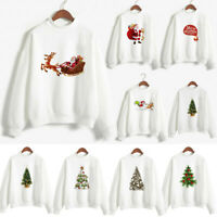 Christmas Tops Women Casual Santa Claus Print Blouse Pullover Sweatshirt White