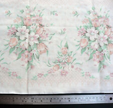 Vintage Floral Border Print Pink Peach Cream Cotton Fabric 75cm x 160cm Material