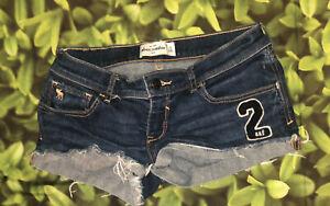 Abercrombie Kids Girls SZ 16 Denim Shorts Distressed Frayed Hem Pocket Stretch