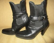 PRADA Black Leather double-wrap strap high heel ankle boots size 37