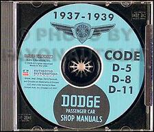 1937 1938 Dodge Auto Manuale di Negozio su CD D5 D8 Servizio Riparazione