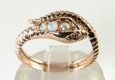 SNAKE 9K 9CT ROSE GOLD PEARL OPAL DIAMOND ART DECO INS SERPENT RING FREE RESIZE
