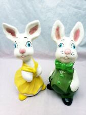 2 Large Vintage Textured Ceramic Easter Bunny Rabbits Figurines 8""