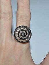 STERLING SILVER BLACK AND ORANGE CZ SWIRL COCKTAIL CLUSTER RING