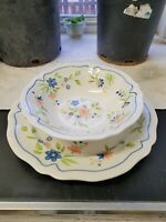Vintage Country French Ironstone Large Serving Platter & Serving Bowl 4453