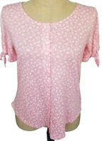 Ann Taylor LOFT Pink White Floral Button Front Short Tie Sleeve Top Small NWT