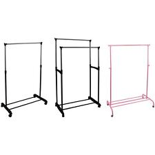 Garment Rack Single Double Silver or Pink Adjustable Portable Clothes Rail Stand