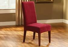 Stretch Piqué waffle weave stretch Short Dining Chair Slipcover Garnet red