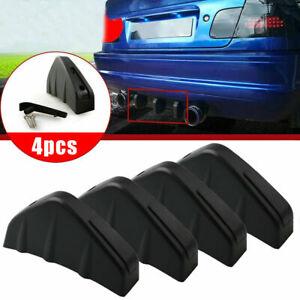 Black Car Rear Bumper Surround Diffuser Lip Shark Fins Splitter Accessories 4pcs