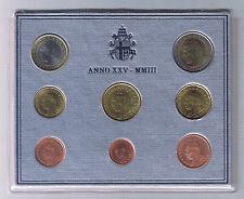 2003 Vatican City Mint Set 8 Coins 1 cent to 2 euro Stato Citta del Vaticano UNC