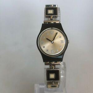 "Swatch Vintage AG2002 Womens Domino Watch Bracelet Analog Quartz 7 1/4"""