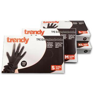 100x TPE Einweghandschuhe schwarz S-XL Puderfrei & Latexfrei Einmalhandschuhe