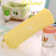 Cute Candy Color Bow Jelly Silicone Waterproof Pencil Case Stationery Bag Hot Light Green