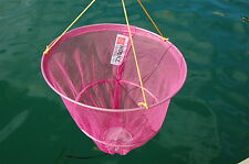 HOOKZONLINE PINK CRAB DROP NET with BAIT CLIP & ROPE - SAFE CRABBING
