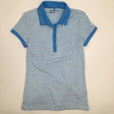 Nike Womens XS Golf Polo Shirt Short Sleeve Dri Fit Blue White Stripe