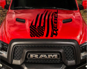 Distressed American Flag for Dodge Ram Rebel Hood Logo Truck Vinyl Decal Graphic
