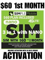 Simple Mobile W/ YOUR SIM ACTIVATON 🔥$60 UNLIMITED 30 DAY Plan 🔥 Read detail