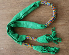 African Elegant Handmade beaded Ladies Style Tassel Scarf Shawl headgear green