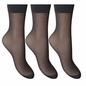 Ladies Ankle High Tights Pop Socks 15 denier Comfort Top Size 4-7 silky smooth