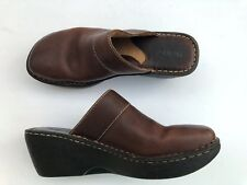 BORN Size 9 Euro 40.5 Dark Brown Leather Low Wedge Clogs Mules Slip On Shoes EUC