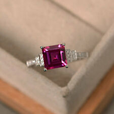 Real 14K White Gold 1.95 Ct Princess Diamond Ruby Engagement Ring Size 5 6