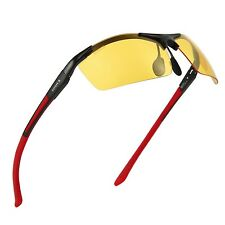 Anti-Glare Driving Glasses HD Polarized Yellow Lenses Night Vision Black-Red New